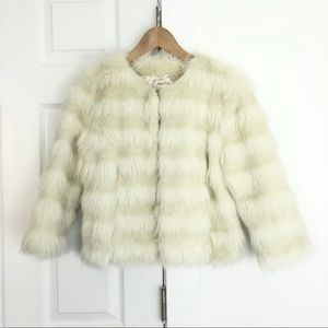 Mossimo cropped faux fur jacket coat 3/4 sleeve S
